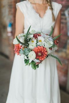 green white and peach wedding bouquet