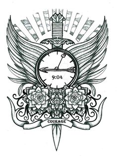 Sword, clock and roses tattoo design by thehoundofulster