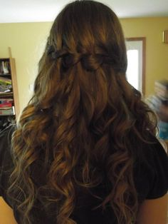 Waterfall braid with curls for prom. :)