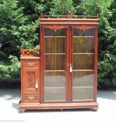 Aesthetic Victorian Walnut & Burl Bookcase wSide Cabinet & Gallery 2 Keys c1880 #Victorian