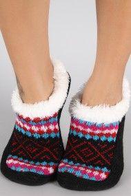 Fair Isle Fur Cuff Sock Slipper