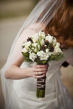 Pine cone bouquet - too plain? :  wedding bouqet pine cone Pinecone