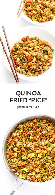 "This 15-Minute Quinoa Fried ""Rice"" recipe is the best!! It's super easy to make, full of big flavors, and it's the perfect side or main dish. Feel free to add chicken, pork, tofu, shrimp, beef, or veggies if you'd like! 
