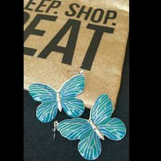 Enamel painted butterflies large earrings NWOT Emamel painted butterfly earrings  large new without the tags very trendy and eye catching  No visable signs of wear Jewelry Earrings