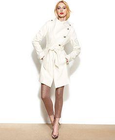 GUESS Coat, Asymmetrical Wool-Blend Belted