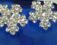 10 Pieces Round Clear Rhinestone Silver Metal Buttons by zzlaca