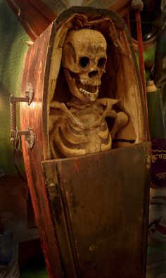 Killer paper mache skeleton and wood coffin previously used in Odd Fellows Fraternal Order initiation ritual, years old! Halloween Themes, Halloween Diy, Mexican People, Odd Fellows, Pirate Adventure, Get Up And Walk, Skull Decor, Weird Science, Memento Mori