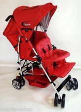 New Mamakiddies Lightweight Red Tandem Two Children Stroller Puschair Pram Buggy