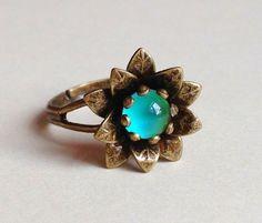 Super cute! -- Antique finish flower mood ring, nickel free, brass -- by 242VintageLane on Etsy, $32.50