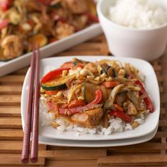 Ginger Chicken Stir-Fry Stir-fry chicken and vegetables with a delicious ginger sauce to make this quick-to-fix main-dish recipe.
