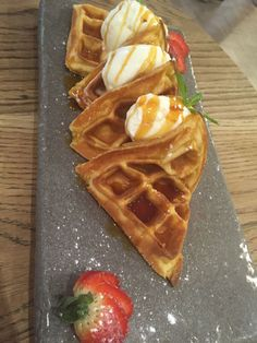RUA'S Waffles with homemade salted caramel ice cream with a hint of peanut butter Salted Caramel Ice Cream, Waffles, Peanut Butter, Merry, Homemade, Dining, Eat, Breakfast, Food