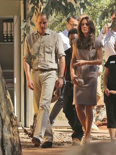 Prince William and Kate, the Duchess of Cambridge, arrive at the National Indigenous Training Academy at Yulara, near Uluru