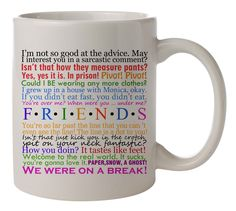 friends tv show tv series quotes Tea Cup Morning Mug Coffee Mug Home Office  #MugDesign Friends Coffee Mug, Friend Mugs, Cup Of Tea Quotes, Coffee Quotes, White Coffee Mugs, My Coffee, Morning Coffee, Coffee Cups, Tea Cups