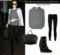 Rosie Huntington-Whiteley in grey knit sweater, white jacket, black skinny jeans and ankle wedge boots