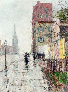 g α l l ℯ r y - Childe Hassam | Rainy day, 1890