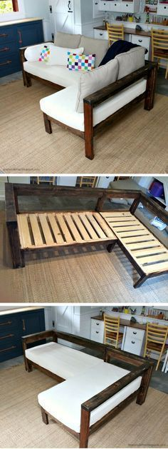 Check out how to make a DIY wooden small sectional from 2x4s @istandarddesign