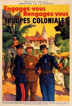 Join French Colonial Troops Cambodia 1930s - original vintage poster by Leon Fauret listed on AntikBar.co.uk