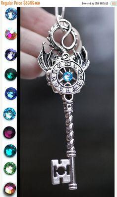 V-Day Sale Time Dragon Key Necklace by KeypersCove on Etsy Key Jewelry, Cute Jewelry, Jewelery, Jewelry Accessories, Unique Jewelry, Antique Keys, Vintage Keys, Old Keys, Dragon Jewelry