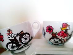 Handmade by Do : Painted coffee set- bicycle lovers/ Set de cafea p. Coffee Set, Hand Painted Ceramics, Ceramic Painting, Ceramic Mugs, Maya, December, Palette, Bicycle, Lovers