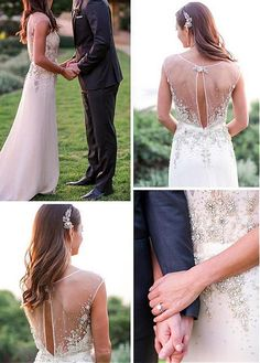 Charming Chiffon V-neck Neckline Sheath Wedding Dresses With Beaded Embroidery
