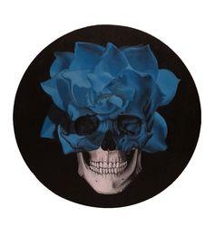 Title: Blue Flower Skull Medium: Acrylic on circular canvas Size: 16 diameter inch thick) Flower Skull, Blue Flowers, Canvas Size, Art Drawings, Size 16, Death, Medium, Medium-length Hairstyle, Art Illustrations