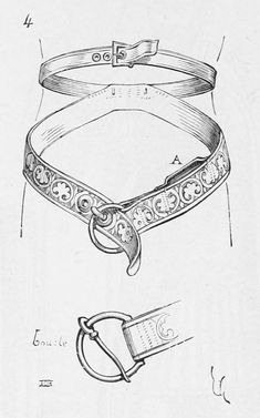 This would make a good belt to hang a quiver from, since the upper belt wouldn't distort from the weight hanging form the lower belt. medieval-belts-16.png (838×1342)