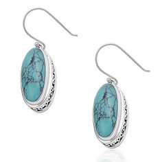 925 Sterling Silver Vintage Inspired Oval Turquoise Dangle Earrings
