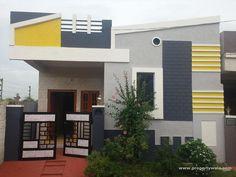 Related image Single Floor House Design, House Front Design, Front Elevation Designs, House Elevation, Village House Design, Village Houses, Independent House, Dream House Plans, Ceiling Design