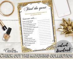 Gold And Yellow Glittering Gold Bridal Shower Theme: Find The Guest Game - shower icebreaker, rich shower, party organizing, prints - JTD7P #bridalshower #bride-to-be #bridetobe