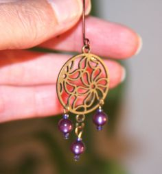 Flower Dangle Earrings Dark Purple Drop by BirchBarkDesign on Etsy, $14.95