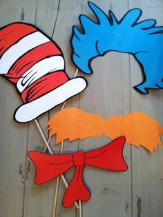 Deluxe Set of Dr Seuss Inspired Cat in The Hat Photo Booth Party Props by EllaJaneCrafts on Etsy https://www.etsy.com/listing/171760088/deluxe-set-of-dr-seuss-inspired-cat-in