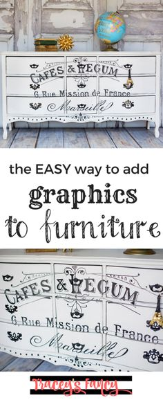 How to add graphics and transfers to furniture Furniture Painting Tips by Traceys Fancy Furniture Makeover Ideas French Stencils on Furniture Furniture Redo, Repurposed Furniture, Shabby Chic Furniture, Furniture Projects, Rustic Furniture, Vintage Furniture, Furniture Design, Bedroom Furniture, French Furniture