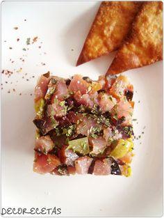 DECORECETAS: Tartar de Mojama de atún con triángulos de maíz