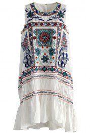 Boho Fun Story Ruffled Dress in White