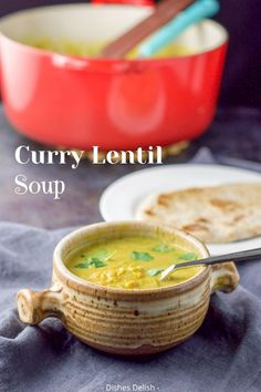 Coconut curry lentil soup recipe is a winner for many reasons. Among them, coconut and curry go beautifully with lentils and they make for a flavorful and delicious broth! #lentilsoup #soup #currysoup #coconutsoup #dinner #delicious @dishesdelish | dishesdelish.com
