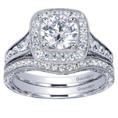 Let the one you love know they are royalty with this Gabriel & Co. 14k White Gold Victorian Halo Ring.