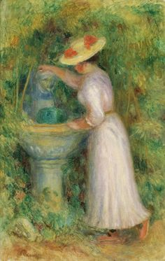 Young Girl near Fountain 1885   Pierre Auguste Renoir   oil painting