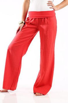 Fold Over Linen Pants, Dark Coral
