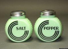Vintage jadeite salt and pepper shakers.