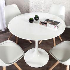 Stylischer Esstisch SIGNUM 90cm rund aus Fiberglas weiß puristisch Tisch in Möbel & Wohnen, Möbel, Tische | eBay