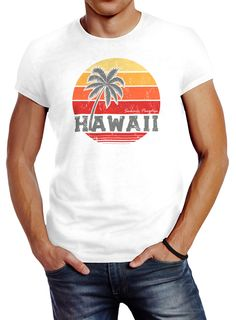 Herren T-Shirt Hawaii Palme Tropical Summer Retro Slim Fit Baumwolle Neverless® Hawaii, Herren T Shirt, Retro, Slim Fit, Printed Shirts, Abs, Tropical, Summer, Fitness