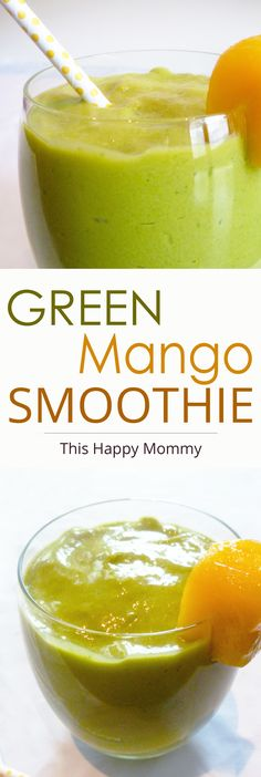 Green Mango Smoothie -- A drink that tastes like an exotic vacation! The combination of mango, avocado, spinach, and lime make this a paradise-worthy smoothie.  | thishappymommy.com