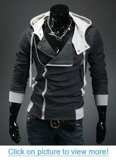 Pixnor® Assassins Creed 3 Desmond Miles Cosplay Costume Hoodie Assassin's Creed Jacket Costume Top Coat (Dark Grey, M)