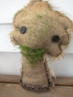 Homemade chia pets from burlap, gardening soil & grass seed.