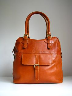 Leather Purse Tote with Pocket by TheLeatherStore on Etsy, $150.00