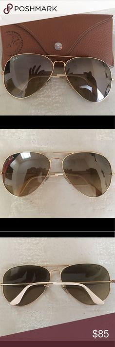 Ray Ban Classic Aviator Sunglasses Women's aviator sunglasses with gold metal frames. Frame has white accent. Comes with case and cleaning cloth. Ray-Ban Accessories Sunglasses