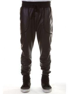 Low crotch black faux leather Sweatpants. Harlem style sweat pants. Dance pants. Hip hop dance pants. Joggers. Means fashion. MENS pants.