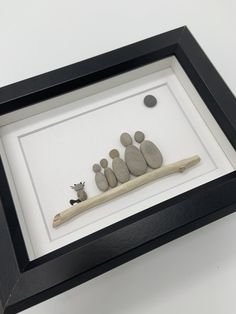 Excited to share this item from my shop: Pebble Art Family with cat- 5 by 7 framed - family of five pebble art with cat Pebble Art Family, Family Of Five, 5 To 7, Shadow Box, Art Pieces, Just For You, Etsy Shop, Display, Stone