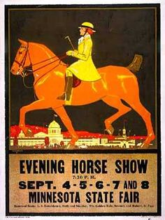 Color poster, 'Evening Horse Show' - Minnesota State Fair, about 1918. MHS Collections Location no. FM6.55A b1 Negative no. 40518