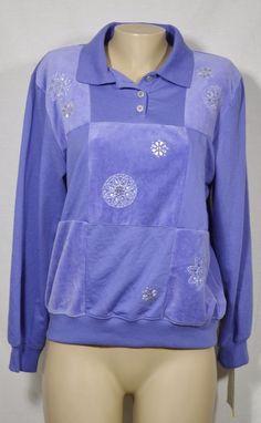 ALFRED DUNNER NEW NWT Lilac Blue Easy Street Studded Collared Sweatshirt Medium #AlfredDunner #SweatshirtCrew